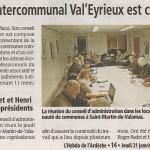 L'office de tourisme intercommunal Val'Eyrieux est créé: Janvier 2016